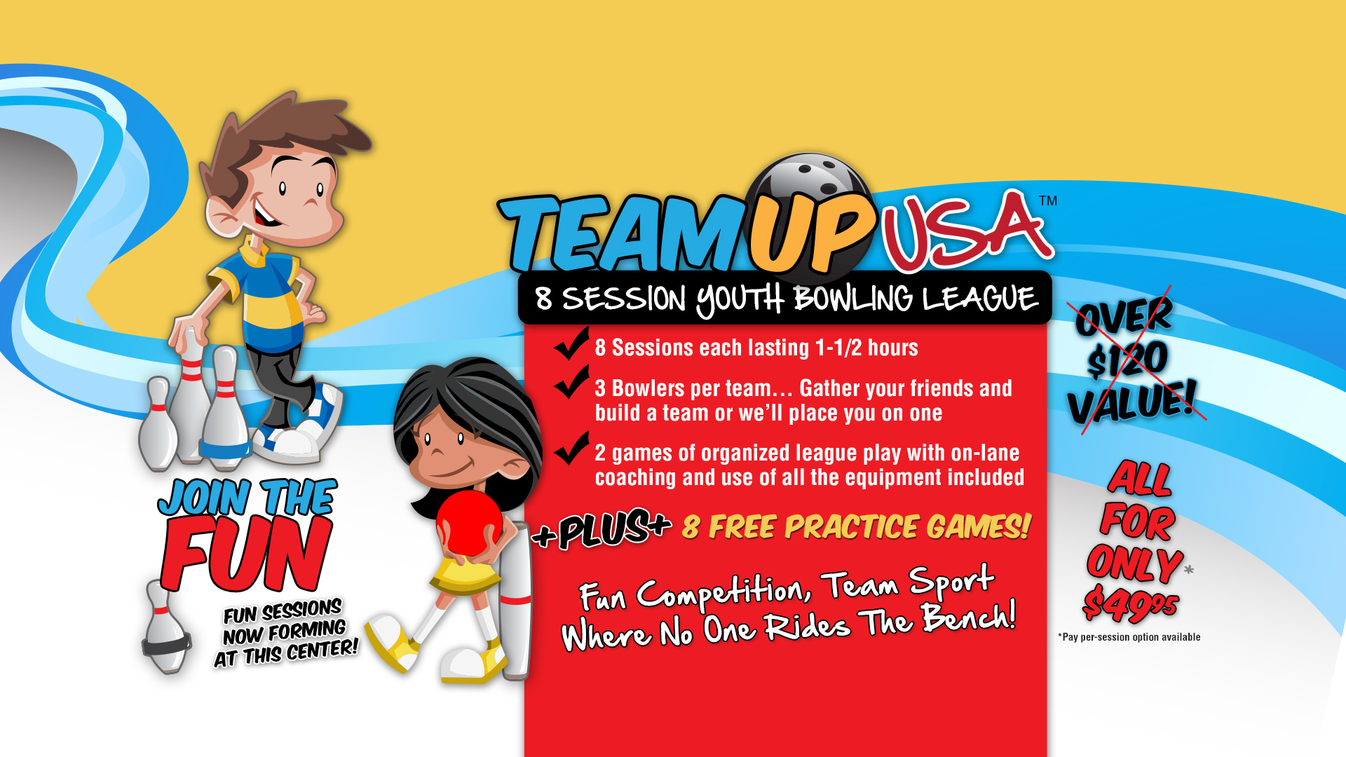 Team Up Youth Bowling League – Kids Bowl Free Centers
