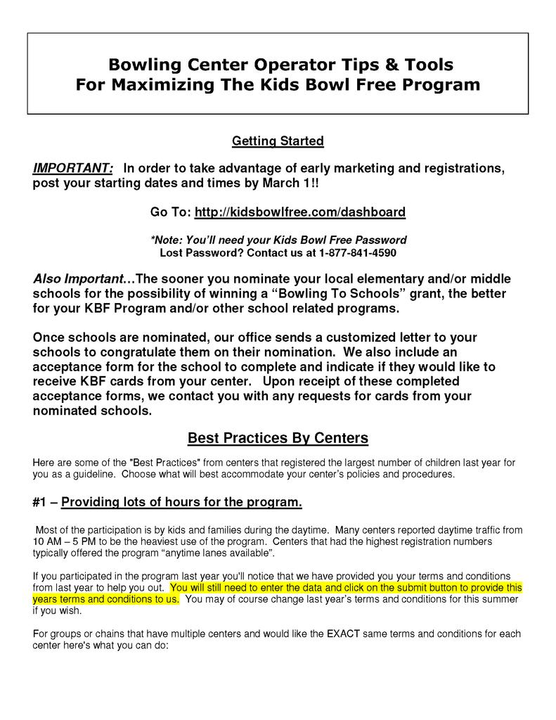 KBF Promo Items – Kids Bowl Free Centers